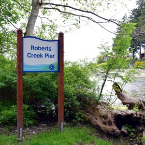 roberts creek pier board in the greenary